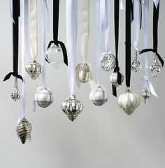 Christmas Trends 2012 - Ice Palace! - Modern Classic Christmas Ornaments in White and Silver, Hanging on Ribbons, Design Riviera Maison!