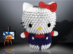 Hello Kitty Origami 3D   If you want to grow patient try this Hello Kitty 3D Origami. It takes a while, but it is really worthy. One of the cutest creations of Hello Kitty in Origami 3D  I folded this model several months ago as a gift for a friend. Good luck and I hope you enjoy the folding with this long but fun task!!!!   Folder and Photo: @Origami_Kids  Diagrams Hello Kitty – Origami 3D – Japanese magazine.  Folding Instruction…