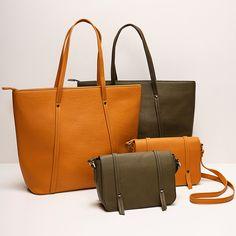 As cores certas atualizam qualquer básico. Um exemplo são as bolsas em verde ou amarelo. Pra completar, elas ainda chegam em diferentes tamanhos pra diferentes necessidades. #VemProvar Tote Bag, Bags, Instagram, Fashion, Brown, Yellow, Colors, Wardrobe Closet, Green