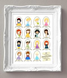 "Disney Princess Artwork - DIGITAL FILE - Print at Home in 8x10"", 11x14"" or 16x20"" - Princess Theme - Ariel - Cinderella - Elsa - Anna"