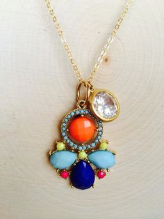Turquoise Carnival Crystal Necklace by BleuberryToast on Etsy, $36.00