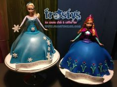 Anna and Elsa from frozen, full size doll ice cream cakes