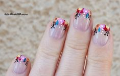 #Colorful #floral #frenchmanicure #nailart