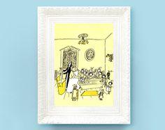 Vintage Madeline Print. Original French Book Plate Illustration 6x8 inches. Bath Time Wash Room. France Paris Ludwig Bemelmans. $3.50, via Etsy.