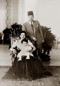 Riad Shehata, King Farouk I of Egypt with his wife Queen Farida and their daughter Princess Ferial,