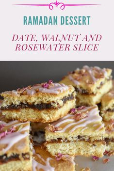 Traditional Australian date slice meets Arabic Ma'moul Arabic Dessert, Arabic Sweets, Indian Sweets, Arabic Food, Ramadan Desserts, Ramadan Recipes, Date Slice, Delicious Desserts, Dessert Recipes