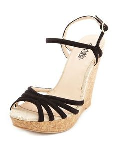 Sueded Strappy Cork Wedge Sandal: Charlotte Russe