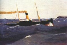 "kundst: ""Edward Hopper (US Tramp Steamer Oil on canvas x 74 cm) "" American Realism, American Artists, Edward Hopper Paintings, Ashcan School, Hirshhorn Museum, Johannes Vermeer, Steamer, Henri Matisse, Hale Navy"