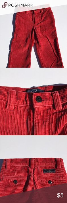 "Polo Corduroy Pants Beautiful red corduroy slacks. Perfect for everyday wear and dressing up! Marked as ""good condition"" for slight fading. Polo Ralph Lauren  Shirts & Tops"