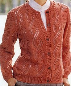 Cardigan with vertical openwork. Discussion on LiveInternet - Russian Service Online diary Ladies Cardigan Knitting Patterns, Lace Knitting Patterns, Knitting Blogs, Crochet Cardigan, Knitting Designs, Free Knitting, Cardigan Design, Crochet Clothes, Sweaters For Women