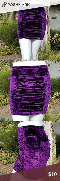 """Charlotte Russe Crushed Velvet Ruched Mini Skirt MEASUREMENTS:   Waist22""""  Hips28""""  Length15""""  CONDITION: EUC.  SIZE: XS  Plush purple crushed velvet ruched mini skirt Charlotte Russe Skirts Mini"""