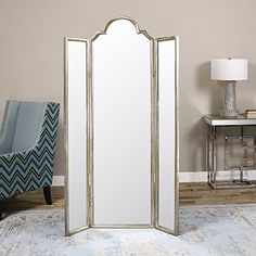 Gorgeous Full Length Mirror Three Panel Arch Floor Screen | Room Divider Dressing Freestanding/ dressing room