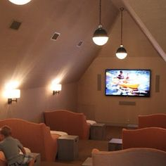 Awesome Basement Home Theater Design Ideas - Luxury Interiors media room in. Awesome Basement Home Theater Design Ideas – Luxury Interiors media room in the attic // sma Attic Renovation, Attic Remodel, Sweet Home, Attic Rooms, Attic Bathroom, Attic Apartment, Apartment Therapy, Attic Playroom, Tv Rooms