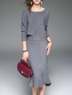 Shop Sweater Dresses - Red Elegant Two Piece Crew Neck Midi Dress