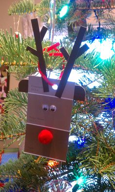 Christmas Reindeer paint chip craft ornament - add and LED for the nose and tape a coin battery to the back