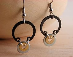 Earrings made from C-clamps and washers