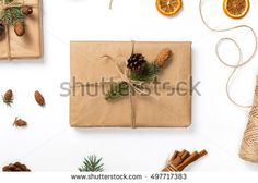 Gift handmade close up on white background, top view, flat lay. Christmas background