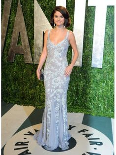 Buy Custom Made High Quality Glittering Column V-neck Crystal Beaded Sexy Selena Gomez Vanity Fair Oscar Party Evening Dresses ED-10659 at wholesale cheap prices from Bridal-Buy.com