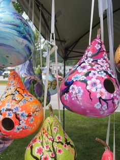 My hand painted gourd birdhouses! By Joni Young