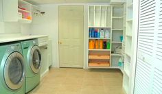 Organized and spacious laundry room.