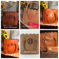 Monogrammed scalloped tote/ womens purse by OakandBlossom on Etsy