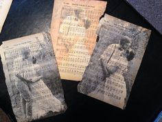 Simply beautiful! Print a B&W or Sepia picture on old hymnal paper taped to printer paper. Easy and a lovely way to display a photo!