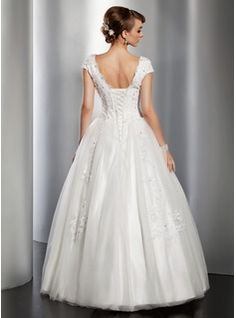 A-Line/Princess V-neck Floor-Length Satin Tulle Wedding Dress With Lace Sequins (002014820) - JJsHouse