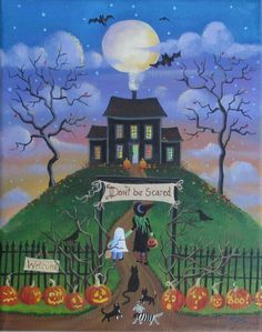 Haunted House Halloween Folk Art Print by KimsCottageArt on Etsy