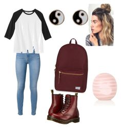 """Back to school"" by sda-philbert ❤ liked on Polyvore featuring 7 For All Mankind, Dr. Martens, Herschel Supply Co., Topshop, Accessorize, women's clothing, women's fashion, women, female and woman"