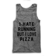I Hate Running but I Love Pizza ($28) ❤ liked on Polyvore featuring tops, black, tanks, women's clothing, loose tank tops, drapey tank, loose fit tank, draped tank top and loose tops