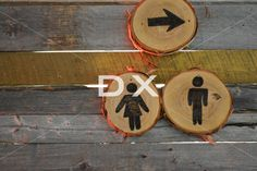 Custom Washroom Signs on Bar Wood Wall by DX Design