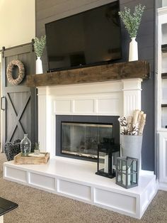 Is your fireplace dated and in need of a refresh? Check out this fireplace makeover. The before and afters are amazing! fireplace surround farmhouse Fireplace Makeover from Contemporary to Modern Farmhouse - Repurpose Life Build A Fireplace, Home Fireplace, Fireplace Remodel, Living Room With Fireplace, Fireplace Surrounds, Fireplace Design, Fireplace Ideas, Simple Fireplace, Modern Fireplace Decor