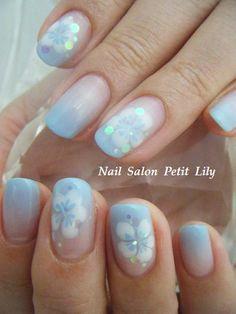 summer blue frangipani nails