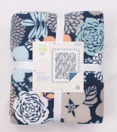 """72"""" No Sew Fleece Throw- Gray Coral Blue Floral"""