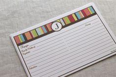 Recipe Cards Personalized Striped 4x6