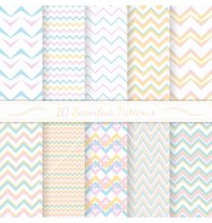 Set of ten seamless retro chevron patterns vector by Vodoleyka on VectorStock®