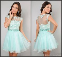 Wholesale Pageant Dresses - Buy 2014 Short Cap Sleeve Lace Dress by Dave And Johnn Short Prom Dresses Green Lace Organza Piping High Quality Custom Made Cheap, $62.2 | DHgate