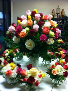 Rose floral arrangements by Robyn Wedding Reception Flowers, Red Wedding, Flower Arrangement, Floral Arrangements, Flower Lights, Floral Designs, Shades Of Purple, Beautiful Flowers, Floral Wreath