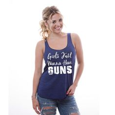 Girls Just Wanna Have GUNS Soft Tank -- Women's Workout Shirt