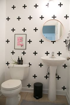 Rental bathrooms are notoriously plagued by ugly design decisions. The good news is, there are some simple, reversible ways to cover up what you hate most. Rental Bathroom, Bathroom Wall Decor, Bathroom Ideas, Bathroom Ceilings, Shower Ideas, College Bathroom, Bathroom Canvas, Budget Bathroom, Bath Ideas