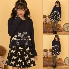 074d0e1cfe7 Kawaii cat pullover skirts twinset - Thumbnail 1 Europe Fashion