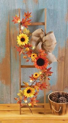 Lighted Country Harvest Sunflower Ladder from Collections Etc. Lighted Country Harvest Sunflower Ladder from Collections Etc. Fall Halloween, Halloween Crafts, Halloween Costumes, Fall Crafts, Holiday Crafts, Thanksgiving Crafts, Sunflower Crafts, Autumn Decorating, Deco Floral