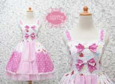 Strawberry Sweet Lolita Dress Kawaii Pink #kawaii #fairykei #lolita #retro #clothing #cute #morikei #fashion #bridesmaid #dress #handmade