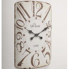 Vintage Distressed Metal Curved Wall Clock: Amazon.co.uk: Kitchen & Home