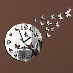 wall clock modern design luxury mirror wall clock,3d crystal mirror wall watches wall clocks 11 butterflies.