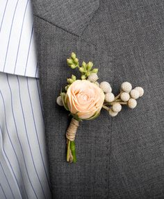 Boutonniere of spray rose, seeded eucalyptus leaves & silver brunia Newlywed bridal boutique Boutonnieres, Groom Boutonniere, Love Story Wedding, Dream Wedding, Floral Wedding, Wedding Bouquets, Wedding Dress, Spray Roses, Groom And Groomsmen
