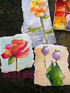 Watercolor Flower Sketches...Valerie Weller http://www.twig2neststudio.blogspot.com
