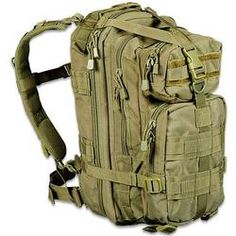 "Level III Assault Day Pack OD Green MOLLE Straps 18x10x10"" Five Stacked Compartments And Compression Straps"