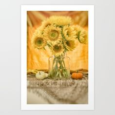 Fine Art Photography -- unframed, framed, stretched canvas wall art and more Beautiful Still Life with Sunflowers and Miniature White and Orange Pumpkins for fall photography  digital  color  vintage   digital-manipulation  sunflowers  autumn  floral  still-life  painterly  gold  warm   neutrals  scarf  fringe