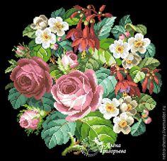 Купить или заказать Схема вышивки 'Розы и фуксии' в интернет-магазине на Ярмарке Мастеров. Авторская реконструкция старинной схемы для вышивания крестом 1838-1858 годов по старинному, раскрашенному вручную бумажному шаблону. Издательство Carl F.W. Wicht. К схеме прилагается ключ в цветовой палитре ниток DMC, а также возможные размеры готовой вышивки на 14, 16, 18 и 25 канве. Схема в электронном виде, в формате PDF. Можно заказать цветной или черно-белый вариант схемы по вашему жел…